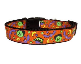 "1.5"" Owls, Bats & Frankenstein Halloween - Dog Collar - Spooky - Fun - Fall - Seasonal - Dog Gift - 1.5"" Wide - Large"