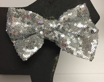"""5"""" Silver Sequin Dog Bow Tie - Collar Accessory - Christmas - Holiday - Festive -"""