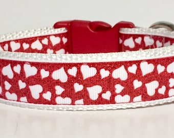 Red Glitter Hearts, Valentine Dog Collar, Valentines, Love, Dog, Pet, Gift, Holiday, Handmade, Rescue, Adoption, Dog Lover, Dog Gift, Lips