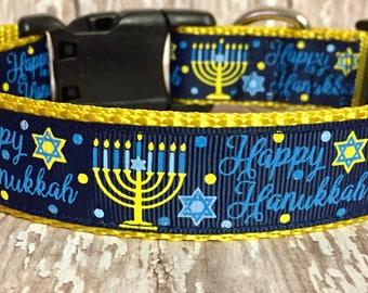 Happy Hanukkah - Star of David - Dog Collar - Holiday - Dog - Pet - Gift - Lights