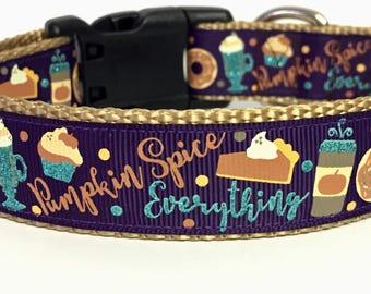 Pumpkin Spice - Pie - Dog Collar Halloween Fall Thanksgiving - Purple- Plum