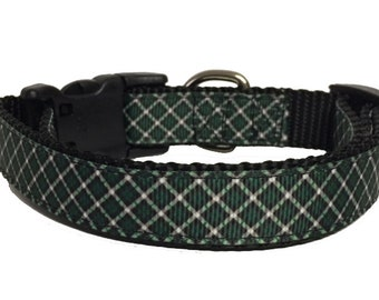 Green Christmas Plaid Dog Collar - Holiday - Gift - Pet Gift - Dog Gift - Seasonal, Christmas, Fall, Puppy, Custom, Small Dog, Large Dog