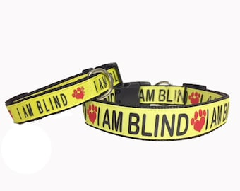 I AM BLIND Dog Collar - Leash, Puppy, Awareness, Safety, Blind Dog, Yellow,