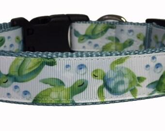 Dog Collar - Turtles - Watercolor - Summer - Spring - Handmade - Dog Gift- Pet - Dog Collar - Turtle
