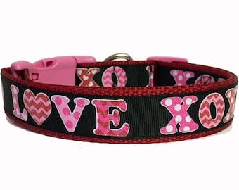 XOXO Glitter Love Valentine Dog Collar