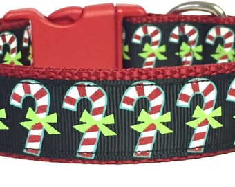 Candy Cane Christmas Dog Collar, Winter, Holiday, Handmade, Pet Gift, Dog Gift, Pet Boutique, Custom, Gift for Dog, Cute, Fun,