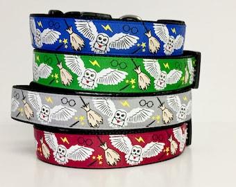 "Harry Potter Dog Collar, 1"" Wide Dog Collar, Hogwarts , Wizard, Wizardry, Owl, Wizard, Gryffindor,"