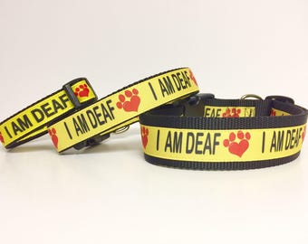 "I AM DEAF Dog Collar 3/4"", 1"" or 1.5"" width - Deaf - Awareness - Caution - Impaired - Yellow - Collar - Dog - Pet - TLC -"