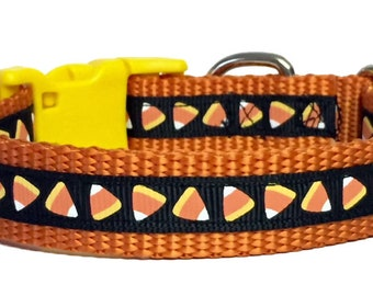 Halloween Candy Corn Dog Collar, cat Collar, Fall Dog Collar, Cat Collar, Thanksgiving, pet gift, handmade, Toy Dogs, Small Dogs