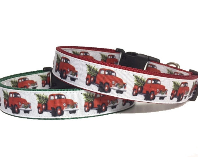 Featured listing image: Christmas Dog Collar - Truck - Winter - Holiday - Dog Collar - Labrador - Tree - Merry Christmas - Red Truck - Vintage - Retro - Farm