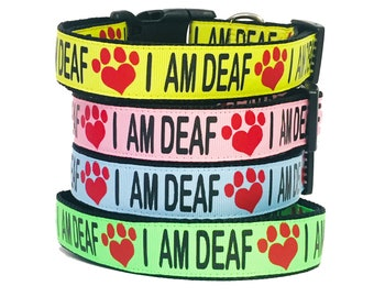 """I AM DEAF Dog Collar or Leash 1.5"""", 1"""" or 3/4"""" width, Special Needs - Dog - Deaf - Awareness - Caution - Bright - Impaired - Yellow - Safety"""
