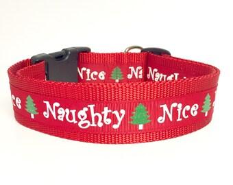 Christmas, Naughty Nice - Small Tiny Dog or Cat Collar - Winter - Santa - Dog Gift - Pet Gift - Holiday - Snow- Snowman -
