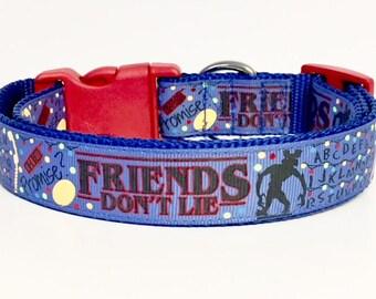Stranger Things Inspired Dog Collar, Friends Don't Lie, Blue, Elevens Waffles, Horror,
