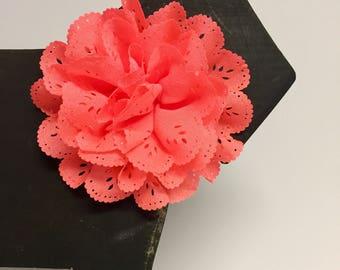 Neon Orange Eyelet flower - Christmas - Holiday - Summer - Spring Flower - Dog Collar Accessory - Gift - Pet Gift - Pretty - Fancy