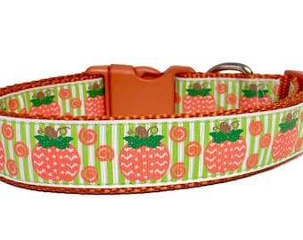 Pumpkin Dog Collar - Fall - Green - Orange - Dog Collar Halloween Fall - Thanksgiving - Handmade - Pet Gift - Boutique - Dog Gift