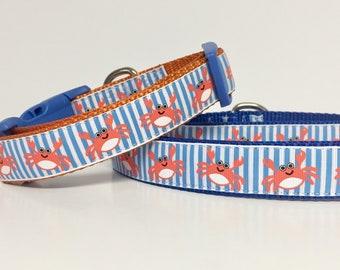 Crab, Nautical, Beach, Dog Collar, Sun, Summer, Spring, Sailor, Sailboat, Dog Gift, Pet Gift, Handmade, dog boutique,