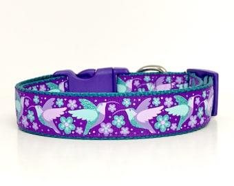 Hummingbirds Dog Collar, Purple Flowers, Garden, Fly, Dog, Pet, Polka Dot Tails, Handmade