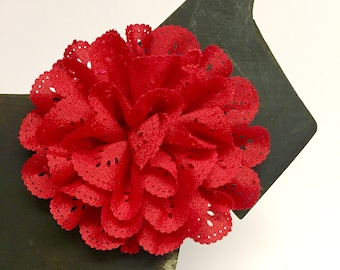 Red Eyelet flower - Christmas - Holiday - Summer - Spring Flower - Dog Collar Accessory - Gift - Pet Gift - Pretty - Fancy