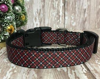 Red Christmas Plaid Dog Collar - Holiday - Gift - Pet Gift - Dog Gift - Seasonal