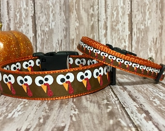 "Thanksgiving - Turkey - Gobble gobble fun - Fall - Tiny  Teacup - Dog Collar - Cat Collar - Halloween - 3/8, 3/4"" or 1"" wide, Handmade"