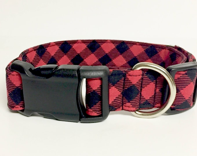 Featured listing image: Buffalo Plaid Dog Collar - Christmas - Holiday - Fabric - Adventure - Lumberjack - woods - Forest - Dog Collar - tartan -