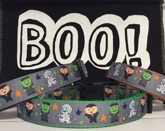 Monsters Halloween Dog Collar - Fall - Cute - Seasonal - Polka Dot Tails - Monster - Handmade - Dog Boutique - Pet Gift - Dog Gift -