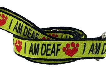I AM DEAF Dog Leash. Awareness, Deaf Dog, Caution, TLC, Special Needs, handmade, Bright, Puppy, Any Size