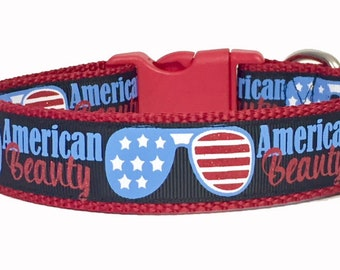 American Beauty - July 4th - Flag - Memorial Day - Stars and Stripes Dog Collar - American - USA - Puppy - dog gift - holiday -