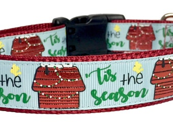 Tis the Season Dog Collar - Peanuts Inspired - Snoopy Inspired - Holiday - Pet Gift -