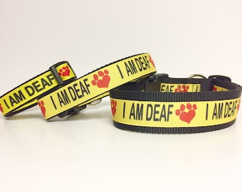 "I AM DEAF Dog Collar or Leash 1.5"", 1"" or 3/4"" width - Special Needs - Dog - Deaf - Awareness - Caution - Bright - Impaired - Yellow -Safety"