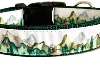 Mountains Dog Collar, Mountain Peaks Dog Collar, Adventure Dog Collar