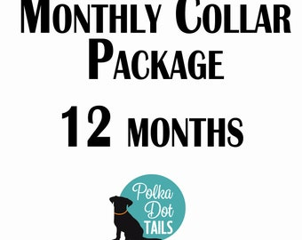 12 Month Collar Package, Puppy Package, Dog Gift, Gift for Pet Lover, Seasonal Collar, Handmade, Monthly Collar Subscription, Christmas,