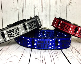 Harry Potter, Hogwarts , Wizard, Wizardry, Dobby is a Free Elf / Dog Collar / Gift for Dog - Gift for Her - Gift for him - Dog gift - 9 3 4