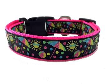 Summer - Fun Sun - Glitter  - Summer Dog Collar - Spring - gift - puppy - pool - bbq - beach - dog gift -