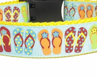 Flip Flops- Summer - Fun Sun - Glitter  - Summer Dog Collar - Spring - gift - puppy - pool - bbq - beach - dog gift -