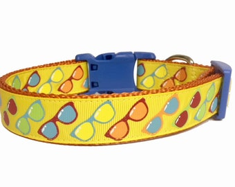 Sunglasses - Summer - Fun Sun - Glitter  - Summer Dog Collar - Spring - gift - puppy - pool - bbq - beach - dog gift -