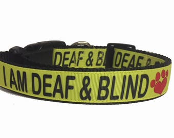 I AM DEAF & BLIND Dog Collar or Leash - Custom - Awareness - Deaf - Blind - Dog - Puppy - Caution - Yellow - Impaired - Bright -
