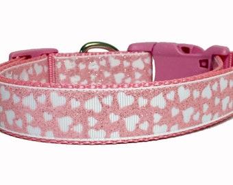 Pink Glitter Hearts, Valentine Dog Collar, Valentines, Love, Dog, Pet, Gift, Holiday, Handmade, Rescue, Adoption, Dog Lover, Dog Gift, Lips