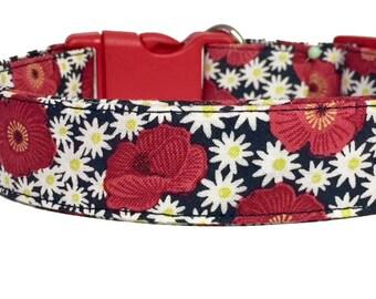 Red Poppy, Daisy, Flower, Spring, Summer, Garden, Designer Dog Accessories, Pet Accessories, Adjustable Fabric Collar, Gift