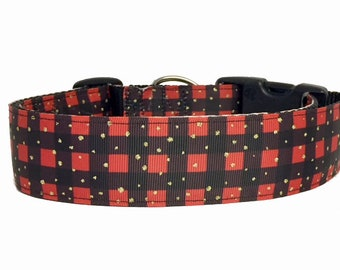 """Buffalo Plaid Dog or Cat Collar - 3/8"""" or 3/4"""" Wide Christmas - Holiday - Adventure - Lumberjack - woods - Forest - Dog Collar - Cat Collar"""