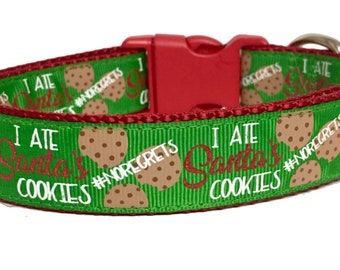 "Christmas Cookies, ""I ate Santa's Cookies, Dog Collar Cute, Seasonal, Snow, Handmade, Dog Boutique, Unique, Naught Dog, Christmas Stocking"