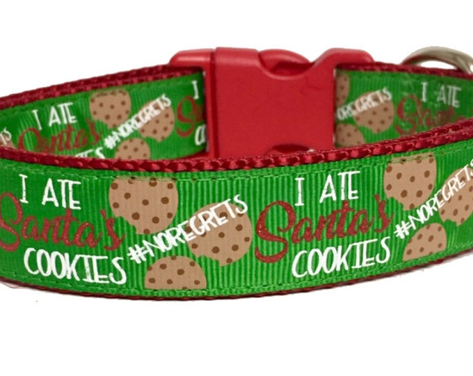 """Featured listing image: Christmas Cookies, """"I ate Santa's Cookies, Dog Collar Cute, Seasonal, Snow, Handmade, Dog Boutique, Unique, Naught Dog, Christmas Stocking"""