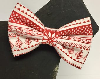 Christmas Dog Bow Tie Collar Accessory - Winter - Fall - Christmas - Holiday - Red - Sweater - Sweedish - Traditional