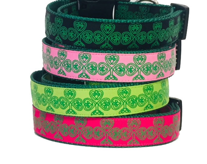 Featured listing image: Celtic - Clover Leaf - St. Patrick's Day Dog Collar - Celtic Knot - Green - Pinch - Dog Gift -