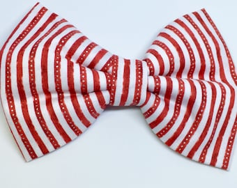Christmas Dog Collar Bow Tie - Candy Cane Stripe - Red- Christmas- Silver- Winter- Puppy- Gift- Christmas- Holiday - Gift - Collar Accesory