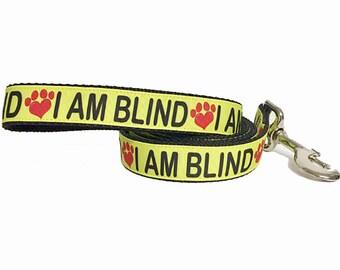 I AM BLIND Dog Leash, Special Needs Dog, Attention, Blind Dog Collar,