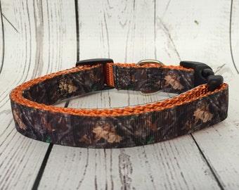 "Camo - Mossy Oak 3/4"" Dog Collar little dog - Camouflage - Dog Gift - Hunter - Duck - Woods - Custom -"