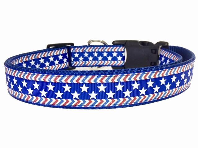 38 Silver /& Navy Blue Star Print Grosgrain Ribbon Flag Dog Collar Leash Baby Shower Patriotic USA Stars Dallas 4th of July