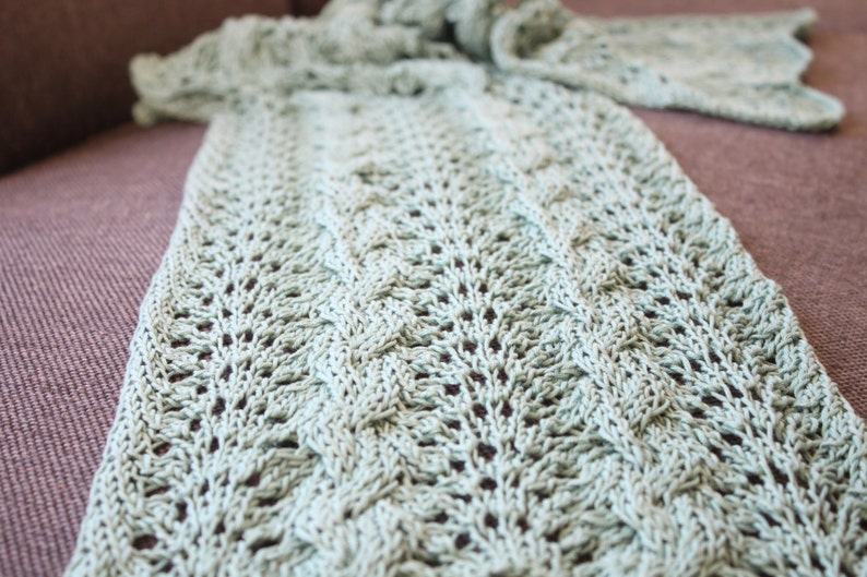 Cabled Chevron Scarf Knitting Pdf Pattern Instant Download Etsy