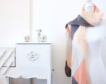 Harlequin Scarf crochet pdf pattern INSTANT DOWNLOAD